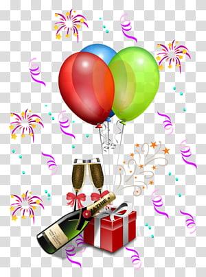 Chapéu de festa Aniversário, decoração de festa, caixa de presente, balões e ilustração de garrafa png