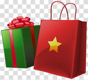 ilustração de presente de vermelho e verde, presente de Papai Noel, caixa de presente de Natal e saco png