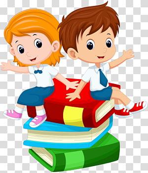 menino e menina sentada na ilustração do livro, Cartoon estudante, crianças PNG clipart
