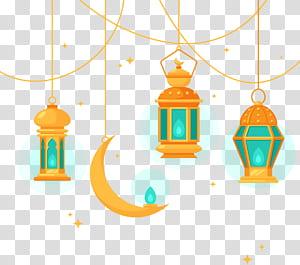 Lustre de arquitetura islâmica, lustre de estilo islâmico, ilustração de três lanternas de suspensão laranja PNG clipart