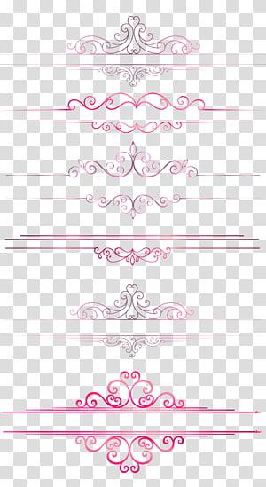 Linha de borda de padrão europeu dividindo linhas de linhas, linhas de borda rosa PNG clipart