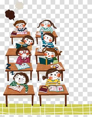 ilustração de estudantes, estudante aprendizagem educação desejo lição, desenhos animados crianças na classe PNG clipart