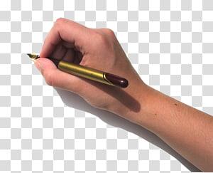 pessoa, segurando a caneta-tinteiro dourada e marrom, Caneta de papel manuscrita, leve a caneta na mão PNG clipart