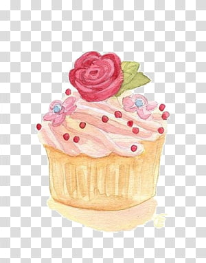 ilustração de cupcake marrom e rosa, cupcake aquarela pintura ilustração, bolo rosa png