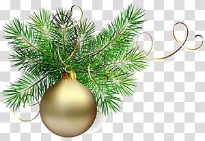 bugiganga de ouro com ilustração de enfeites de Natal verde, enfeite de Natal Papai Noel, bola de Natal de ouro com pinheiros PNG clipart