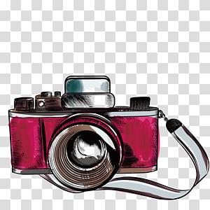 Ilustração de desenho de câmera, câmera antiga, ilustração da câmera DSLR rosa e preta PNG clipart