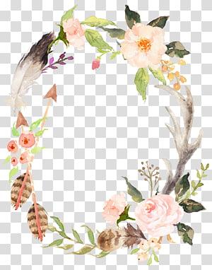 convite de casamento grinalda cartaz de pintura aquarela chuveiro nupcial, grinalda de aquarela pintados à mão, ilustração de grinalda de flor branca em petaled PNG clipart