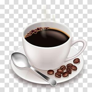 xícara de chá branca com café, café gelado Cappuccino Latte Cafe, bebidas de café png