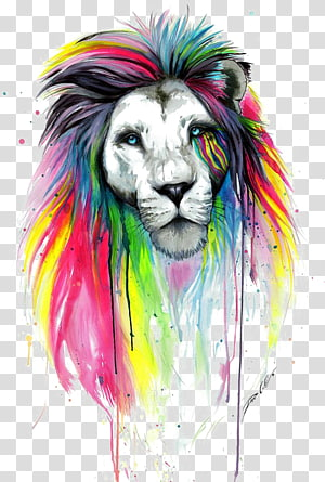 Arte da pintura do desenho do leão, leão da aguarela, arte finala colorido do leão png