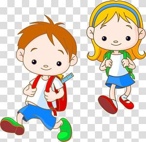 menino menina, carregar, mochila, ilustração, caricatura, criança, criança PNG clipart