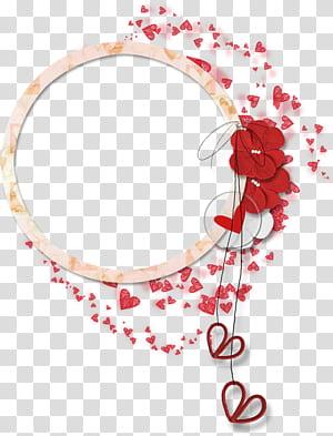 Flor, borda circular do laço de pétalas, arte gráfica de coração vermelho e branco png