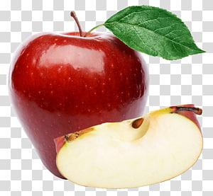 Muffin de suco Maçã com sabor crocante, Maçã vermelha grande, fatia de maçã ao lado de fruta maçã png
