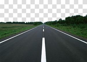 estrada clara entre árvores, rodovia de acesso controlado para automóveis Superfície da estrada Asphalt Lane, material rodoviário florestal png