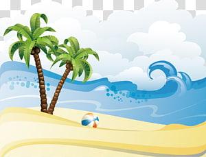 palmeiras na praia, verão praia, verão praia cartaz fundo material PNG clipart