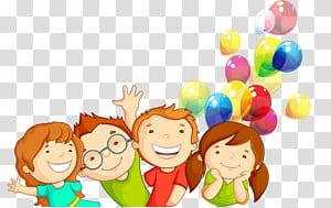 Movimento de direitos das crianças Infância, crianças dos desenhos animados, dois menino e menina ilustração com balões PNG clipart
