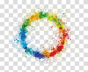 Roda de cores, anel de respingo de cor, ilustração abstrata multicolorida redonda PNG clipart