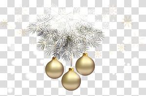 Enfeite de natal Decoração de natal Árvore de Natal, Bolas de Natal douradas com pinho prateado, três enfeites de ouro PNG clipart