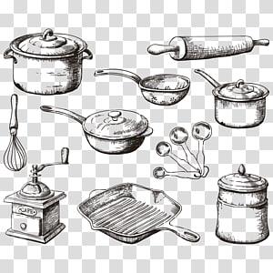 Panelas s, Utensílios de cozinha Cozinha Frigideira Cozinha, Utensílios de cozinha pintados à mão png