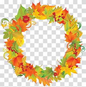 ilustração de grinalda de folha laranja e verde redonda, grinalda de outono, grinalda de outono PNG clipart