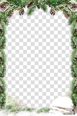 neve, decoração de natal Papai Noel, borda de folhas verdes neve png