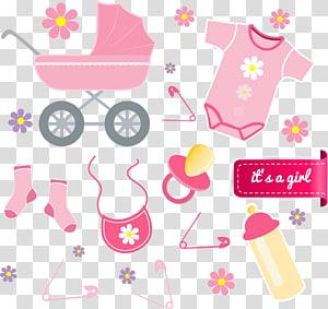 berço, macacão, chupeta e mamadeira, anúncio de bebê infantil euclidiano, roupas de bebê PNG clipart