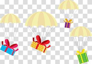 ilustração de quatro caixas de presente de suspensão multicolorida, presente de natal presente de natal, caixa de presente de pára-quedas png