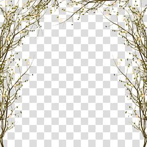 Galho de árvore, ramo decorativo padrão de borda, arco de folhas verdes PNG clipart