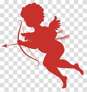 Cupido, Cupido, Red Cupid Silhouettes PNG clipart