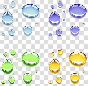 orvalho de cores sortidas da ilustração da água, gota, gotas de água de cor PNG clipart