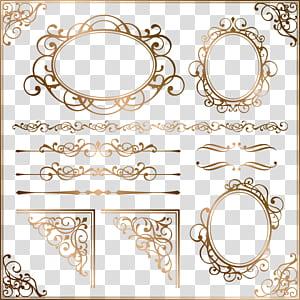 Moldura de ornamento euclidiana, padrão europeu de borda de ouro, fundo azul com sobreposição de texto PNG clipart