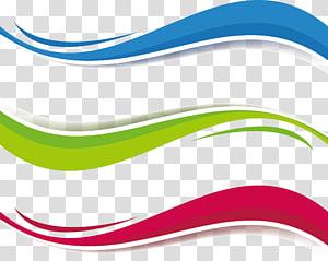 três ondas azul, verde e vermelha, caixa de título de onda euclidiana e tricolor png