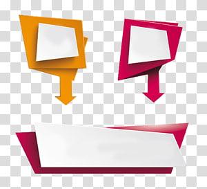 ilustração vermelha, branca e amarela, ícone de seta de polígono, polígonos coloridos decorativos de PPT com seta PNG clipart