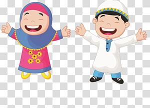 Ilustração de criança muçulmana dos desenhos animados, estudantes muçulmanos, menino e menina, levantando as mãos PNG clipart