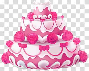 Ilustração de bolo de morango e baunilha, Bolo de casamento Bolo de aniversário Bolo de camada de cupcake, Bolo rosa com rosas png