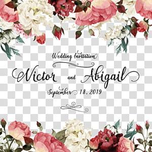 Convite de casamento Cartão de aniversário flor, planta flores aquarela casamento, flor branca e rosa com sobreposição de texto Victor e Abigail PNG clipart