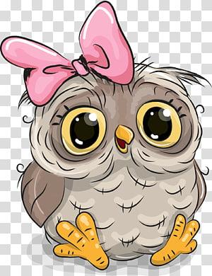 Ilustração dos desenhos animados da coruja ilustração, coruja bonita, coruja de bebê com laço rosa png