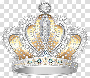 Coroa de diamante, prata ouro diamante coroa, ilustração de coroa cinza e marrom PNG clipart