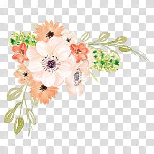 Pintura em aquarela Flor, Flores em aquarela, flores brancas e laranja PNG clipart