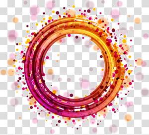 círculo de luz euclidean, halo de círculo geométrico abstrato colorido, ilustração de pulseira roxa e laranja redonda PNG clipart