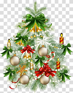 Árvore de Natal, árvore de Natal nevado com, árvore de Natal com ilustração de ornamento PNG clipart