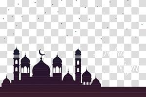Ramadan Moon arquitetura islâmica Mesquita Eid al-Fitr, mesquita do céu, silhueta da cúpula com sobreposição de texto de noite árabe PNG clipart