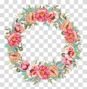 pintura de grinalda de flores cor de rosa e amarelas, grinalda de flores Pintura em aquarela, grinalda floral PNG clipart
