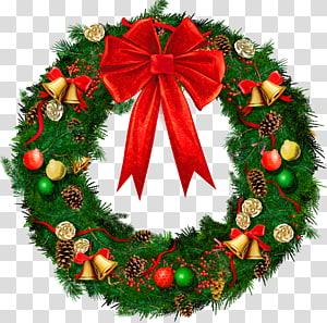Guirlanda de Natal, guirlanda de Natal com laço vermelho, guirlanda de Natal verde e vermelha PNG clipart