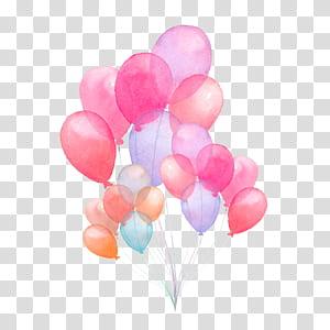 Ilustração de pintura em aquarela de balão ilustração, ilustração de balão em aquarela pintada à mão, arte de balão de cores sortidas png