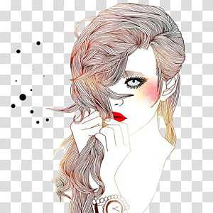 mulher segurando sua arte gráfica de cabelo, coloração de cabelo planeta desenho ilustração, beleza de lábios maquiagem defumada PNG clipart