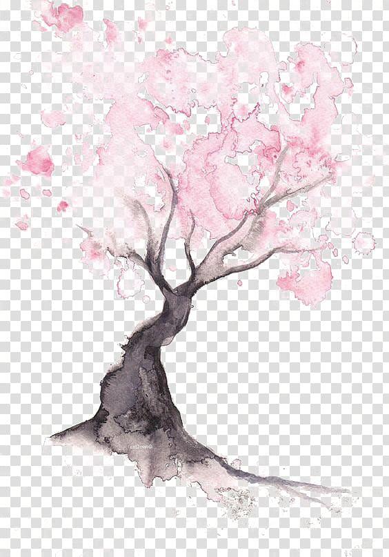 ilustração de árvore de pétalas de rosa, papel flor de cerejeira pintura em aquarela desenho, árvore de cereja png