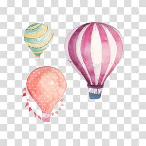 Balão de ar quente Pintura em aquarela Desenho, Desenho Balão de ar quente, três balões de ar quente de cores sortidas png