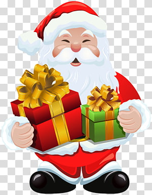 Papai Noel segurando presentes, Papai Noel presente Natal, Papai Noel com presentes PNG clipart