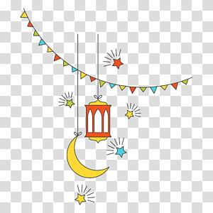 Religião de Eid al-Adha, elementos decorativos de ano novo da cultura islâmica plana, lua crescente e ilustração de lâmpada vermelha PNG clipart