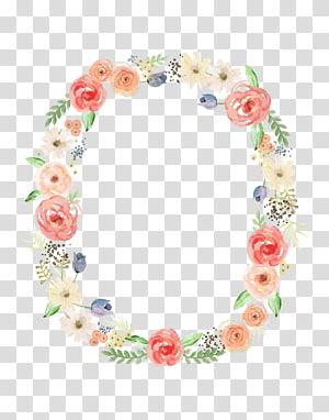 Convite de casamento Flor Pintura em aquarela, anel de flor, ilustração de grinalda floral rosa e verde png